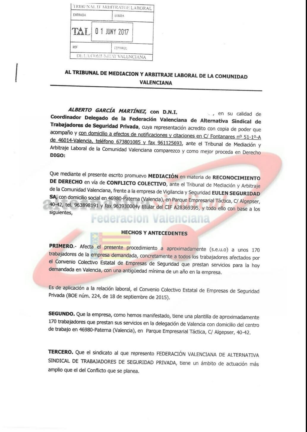 La Federación Valenciana de alternativasindical interpone demandas ...